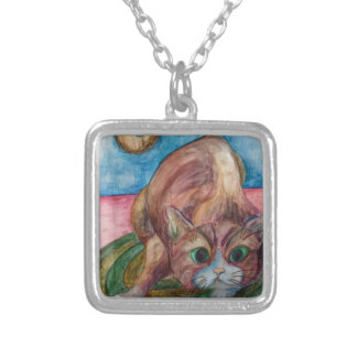 crouching cat silver plated necklace