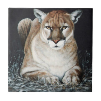 Crouching Cougar Small Square Tile