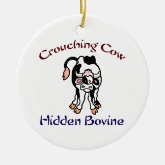 Crouching Cow Hidden Bovine Ceramic Ornament