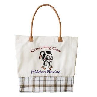 Crouching Cow Hidden Bovine Zazzle HEART Tote Bag