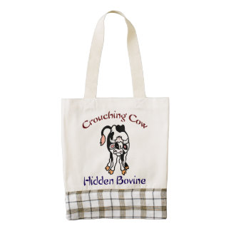 Crouching Cow Hidden Bovine Zazzle HEART Tote Bag