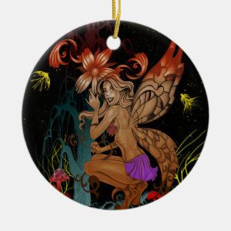 Crouching Fairy Ceramic Ornament