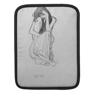 Crouching from the front by Gustav Klimt iPad Sleeves