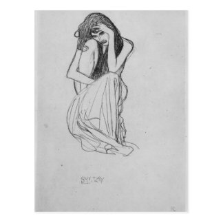 Crouching from the front by Gustav Klimt Postcard