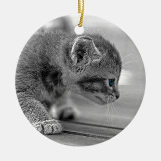 Crouching Kitten Ceramic Ornament