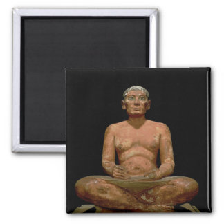 Crouching Scribe Statue 2 Inch Square Magnet