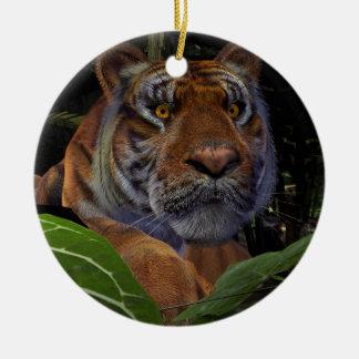 Crouching Tiger Ceramic Ornament