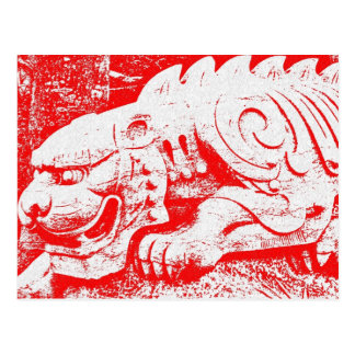 Crouching Tiger on Red Postcard