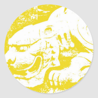Crouching Tiger on Yellow Classic Round Sticker