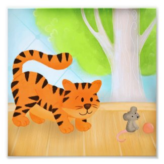 Crouching Tiger, Toy Mouse Illustrated Wall Art