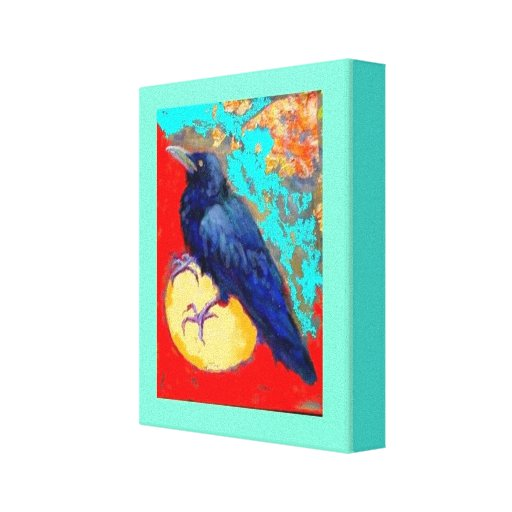 Crow and Egg  in Turquoise by Sharles Canvas Print