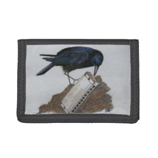 Crow and Harmonica Trifold Wallet