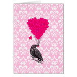 Crow and heart on pink damask cards