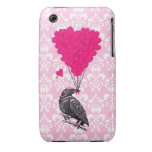 Crow and heart on pink damask iPhone 3 cases
