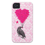 Crow and heart on pink damask iPhone 4 covers