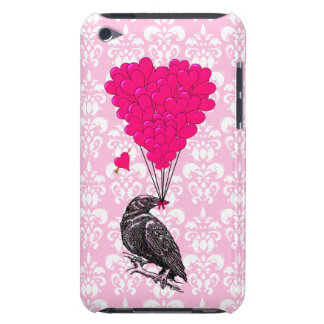 Crow and heart on pink damask iPod touch case
