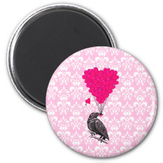 Crow and heart on pink damask magnet
