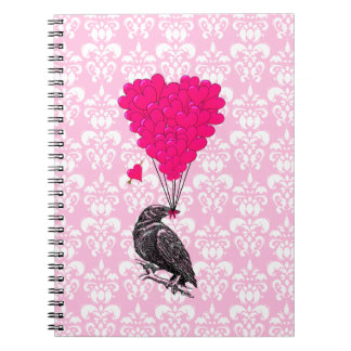 Crow and heart on pink damask notebook