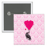 Crow and heart on pink damask pinback button