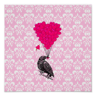 Crow and heart on pink damask print