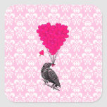 Crow and heart on pink damask square sticker