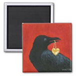 Crow and Locket 2 Inch Square Magnet