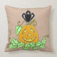 Crow and Pumpkin Throw Pillow