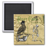 Crow and skeleton 2 inch square magnet