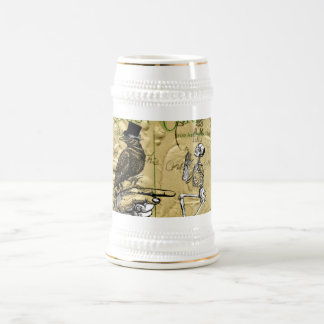 Crow and skeleton beer stein