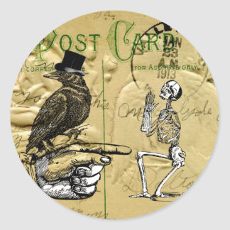Crow and skeleton classic round sticker