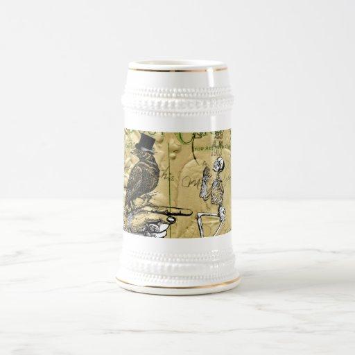 Crow and skeleton coffee mug