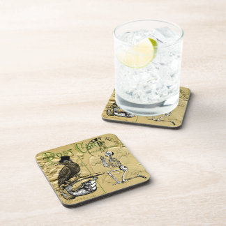 Crow and skeleton drink coaster