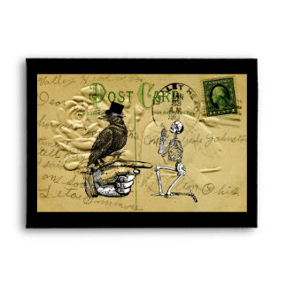 Crow and skeleton envelope