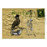 Crow and skeleton greeting card