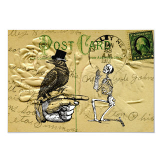 "Crow and skeleton 3.5"" x 5"" invitation card"