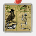 Crow and skeleton metal ornament
