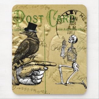 Crow and skeleton mouse pad