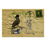 Crow and skeleton print