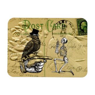 Crow and skeleton rectangular photo magnet