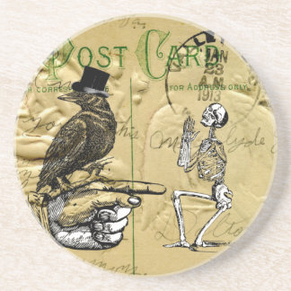 Crow and skeleton sandstone coaster
