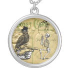 Crow and skeleton silver plated necklace