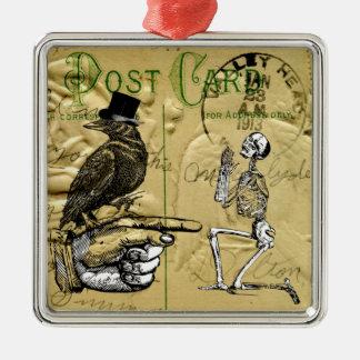 Crow and skeleton square metal christmas ornament
