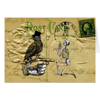 Crow and skeleton stationery note card