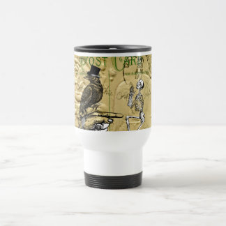 Crow and skeleton travel mug