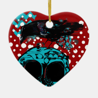 Crow and Skull Trash Polka Dive Funky Red Teal Ceramic Ornament