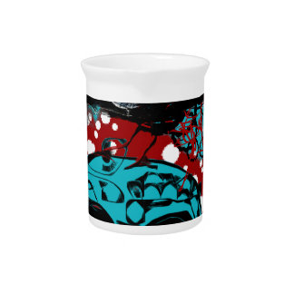 Crow and Skull Trash Polka Dive Funky Red Teal Drink Pitcher