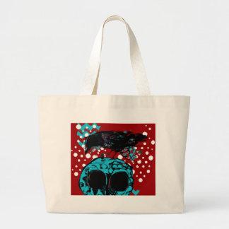Crow and Skull Trash Polka Dive Funky Red Teal Large Tote Bag