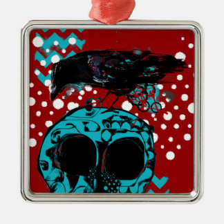 Crow and Skull Trash Polka Dive Funky Red Teal Metal Ornament