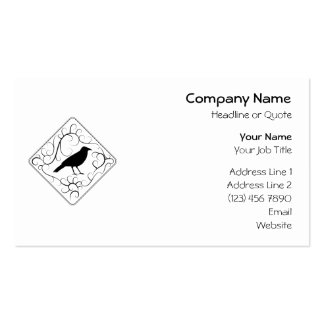 Crow and Swirls Pattern. Black and White. Business Card