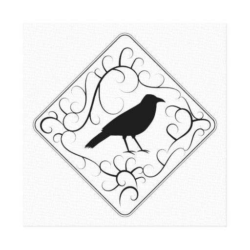 Crow and Swirls Pattern. Black and White. Stretched Canvas Prints